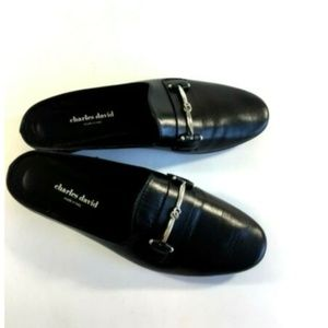 Charles David Black Leather Mules size 39